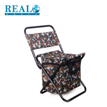Customized outdoor portable folding fishing stool lifetime metal foldable chairs with useful cooler bag