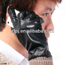 Men sheepskin fashion touch screen PU Gloves