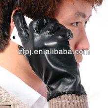 Homens pele de carneiro moda tela sensível ao toque PU Luvas