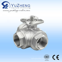 Stainless Steel Three Way Ball Valve with Pad