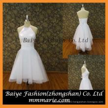 Elegant baby girl party dress halter A line satin short evening dress