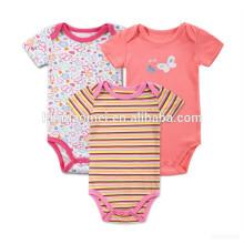 Heißer Verkauf Schmetterling Blume Streifen Baby tragen Säuglingskleidung Bio atmungsaktive Baumwolle rot Baby Overall Strampler