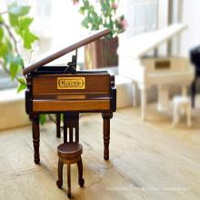 Boîte à musique en forme de mini piano en bois à manivelle