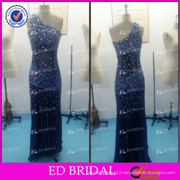 ED Bridal Sexy One Shoulder See Through Back Heavy Crystal Sleeveless Blue Chiffon Women Evening Dress