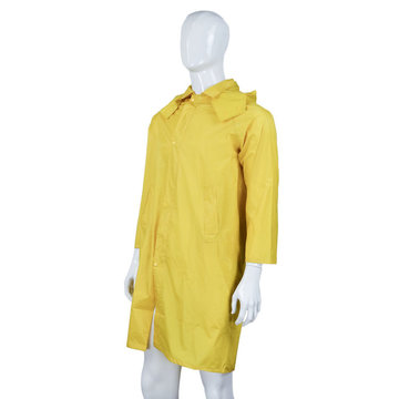 Nylon/PVC Working Raincoat Long Jacket