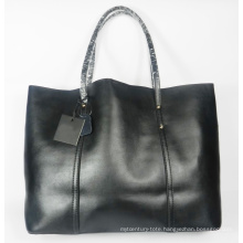 Guangzhou Supplier Fashionable Genuine Leather Lady Shopper Handbag Bag (202)