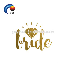 Gold Team Bride Temporal de Henna Tattoo Body Art Wedding Party Accesorios Fake