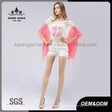 Pink Patterned Fringe Hem Oversized Poncho Sweater