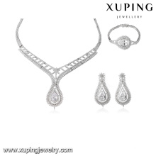 S-43 China Wholesale Fashion Crystal India Luxury Bridal Jewelry Set/Women's Cubic Zircon Necklace Earring Bracelet Set