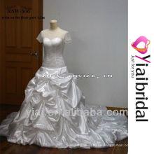 RSW366 Einfache Brautkleider mit langen Zügen Kurzarm