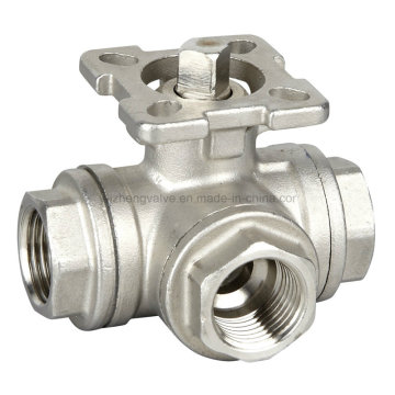 Stainless Steel 3 Way Ball Valve with Pad