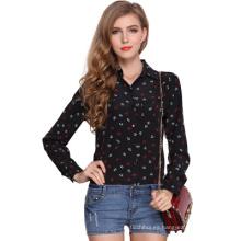 2017 venta caliente de las señoras blusas de gasa diseño elegante impresión de manga larga top blusa de las mujeres