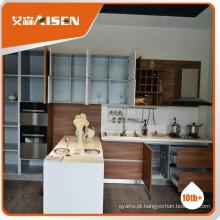 Gabinete de cozinha de madeira de moldagem profissional, armário de cozinha moderno fabricado na China