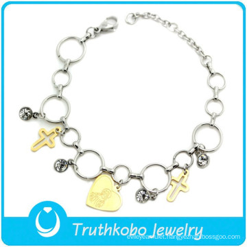 TKB-B0060 Latest handcrafted jewelry Madonna hollow cross C.Z wrist bands round shaped loops two tone prayer bracelet for women