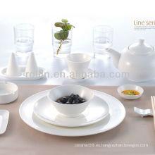 Línea serie hotel de porcelana blanca vajilla, juego de vajilla, vajilla de porcelana