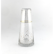 Clear Glass Picther&Glass Cup with Gold Decal