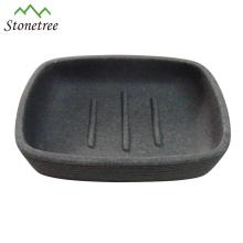 Caliente-venta hecha a mano de granito gris lava lava piedra plato de jabón