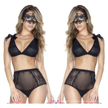 Wholesale Spicy Lady Babydoll Dress Sexy Sheer Mesh Sleepwear Bowknot Decoreated Lingerie