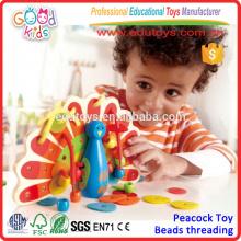 2015 Kids Lovely Lacing Wooden Peacock Niños de madera de madera educativos juguetes de buena calidad