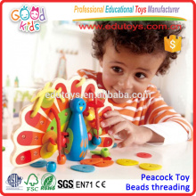2015 Enfants Lovely Lacing Wooden Peacock Colorful Wooden Educational Kids Jouets de bonne qualité