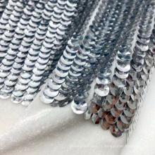 Sirène brillante pleine de paillettes d'argent tricoté tissu de broderie de paillettes de velours coréen pour robe de soirée