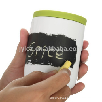 Chalk board spice and herb jars with spoon and silicone lid