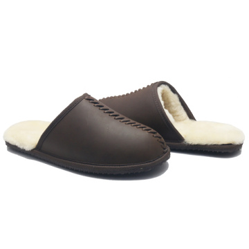 men leather indoor winter sheepskin slippers