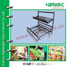 Металлическая черная стойка для супермаркетов для фруктов и овощей