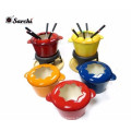 Enameled cast iron Chocolate Fondue Set with forks