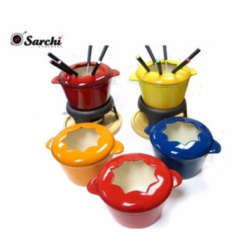 Enamel cast iron cheese fondue set with forks
