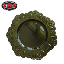 Dark Green Lace Plastic Charger Plate