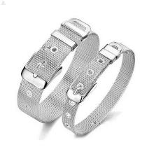 Bracelete de malha de aço inoxidável de fivela de cinto ajustável