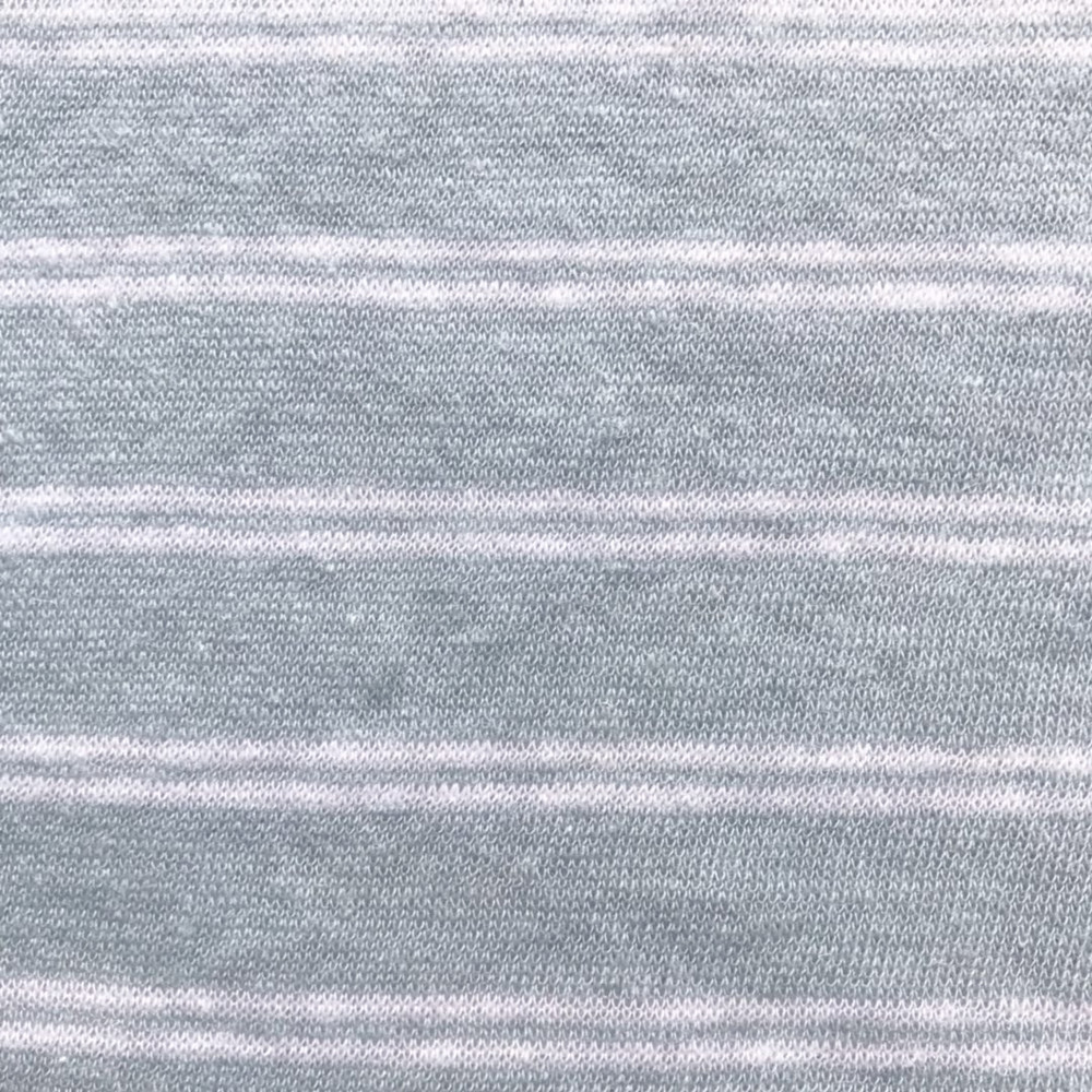 Blue linen cotton Tshirt stripe single jersey
