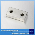 High quality Block shape permanent NdFeB Magnet with two holes