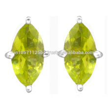 Peridot Gemstone 925 Sterling Silver Stud Earrings Beautiful Wedding Wear Jewelry