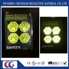 Etiqueta engomada reflexiva de la seguridad de las patas del perro del PVC