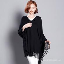 Frauen Mode Viskose gestrickte Winter Fringe Pullover T-Shirt (YKY2058)