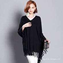 Women Fashion Viscose Knitted Winter Fringe Sweater Tee (YKY2058)