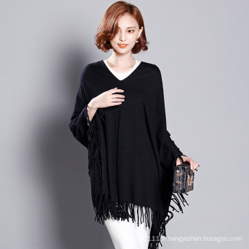 Femmes Fashion Viscose tricoté chandail d'hiver Fringe Tee (YKY2058)