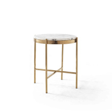 Modern design white round marble coffee table with titanium plating side table furniture