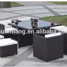 PE rattan outdoor chair with ottoman Garden furniture dining sets