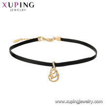 44549 venta al por mayor hermosa joyería de las señoras de imitación perla collar de gargantilla de cuero colgante