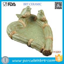 Lovely Bird Green Grass Rattan Ceramic Decor Jewelry Tray