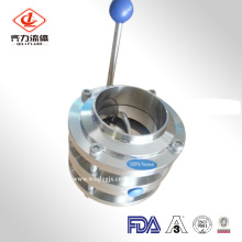 Válvula borboleta sanitária de três válvulas de aço inoxidável