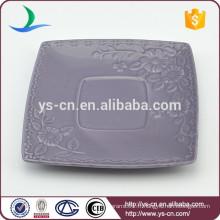 Hot sale flower design ceramic square dish