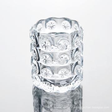 Transparent Pattern Glass Candle Jar