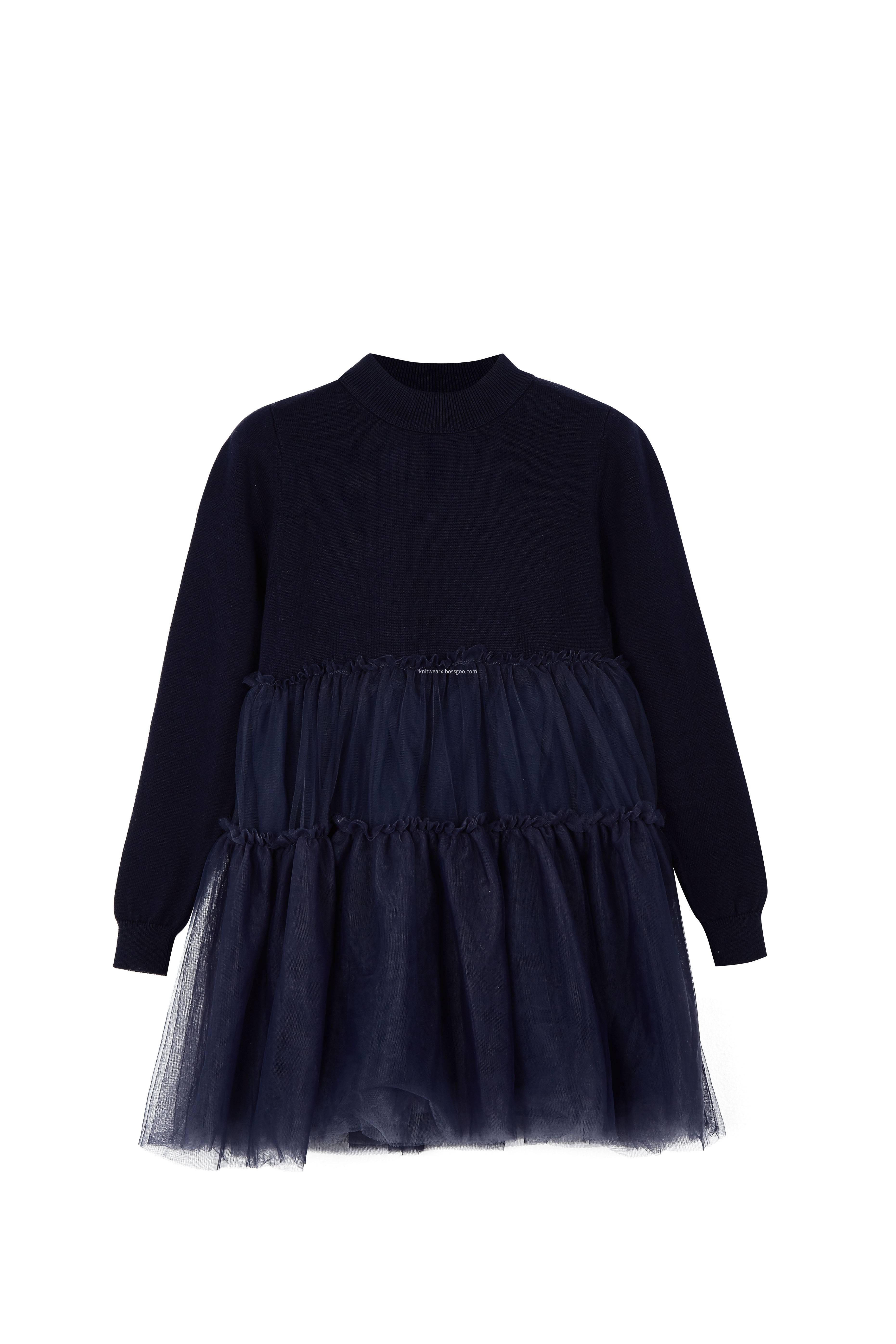 Girl's Knitted Top Crepe Hem Spring Dress