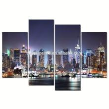 New York Hudson River Canvas Wall Art/modern City Night Canvas Prints/4 Panel Canvas Artwork Wholesale