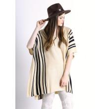 Damen gestreiftes Muster Baumwolle gestrickte Mode Poncho Pullover (YKY2044)