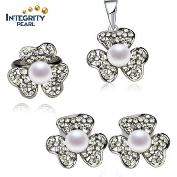 Heißer Verkaufs-Perlen-Satz 8.5-9mm Knopf-Frischwasser-natürliche Perlen-gesetzte Perlen-Art